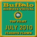 July 2010 - Top Pilot Award (Flights Flown)