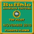 November 2010 - Top Pilot Award (Flights Flown)