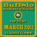 March 2011 - Top Pilot Award (Flights Flown)