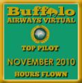 November 2010 - Top Pilot Award (Hours Flown)