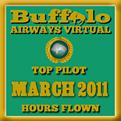 March 2011 - Top Pilot Award (Hours Flown)