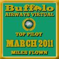 March 2011 - Top Pilot Award (Miles Flown)